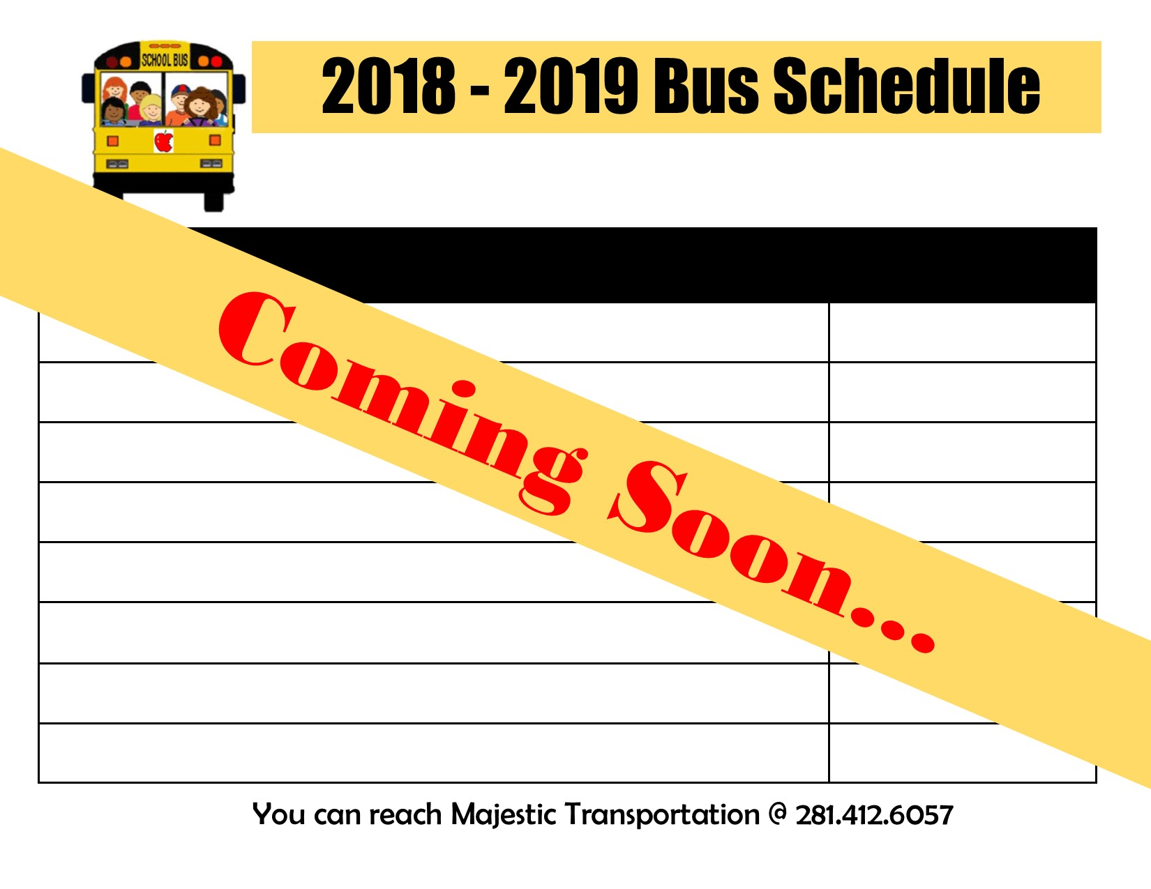 2018-2019 New Bus Schedule. Coming soon