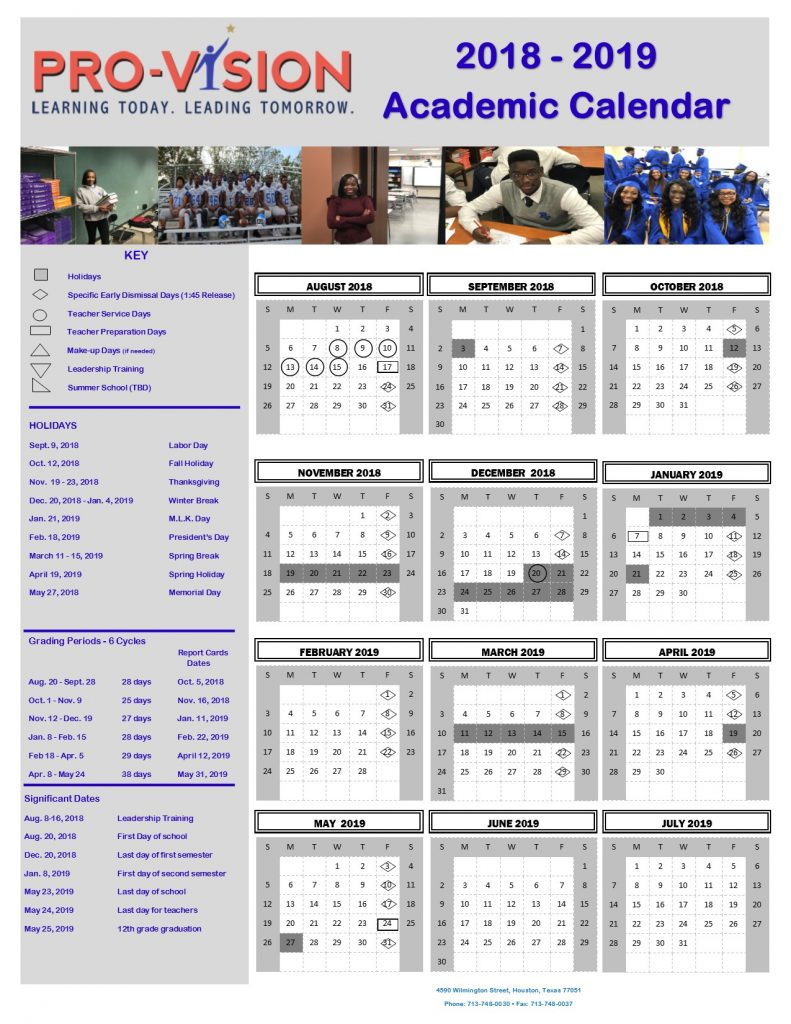 2018 - 2019 School Academic Administrative Calendar