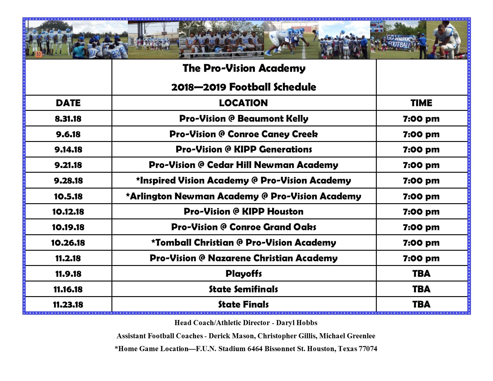2018 - 2019 football schedule